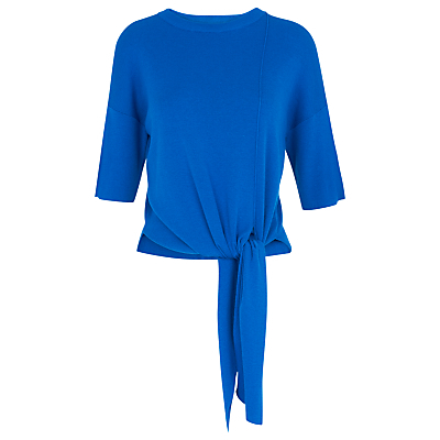 Tie Front Rib Knit T Shirt - pattern: plain; style: t-shirt; predominant colour: royal blue; occasions: casual, creative work; length: standard; fit: body skimming; neckline: crew; hip detail: adds bulk at the hips; sleeve length: 3/4 length; sleeve style: standard; texture group: knits/crochet; pattern type: knitted - fine stitch; fibres: viscose/rayon - mix; season: s/s 2016; wardrobe: highlight