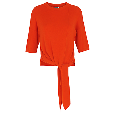 Tie Front Rib Knit T Shirt - pattern: plain; style: t-shirt; predominant colour: bright orange; occasions: casual, creative work; length: standard; fit: body skimming; neckline: crew; hip detail: adds bulk at the hips; sleeve length: 3/4 length; sleeve style: standard; texture group: knits/crochet; pattern type: knitted - fine stitch; fibres: viscose/rayon - mix; season: s/s 2016; wardrobe: highlight