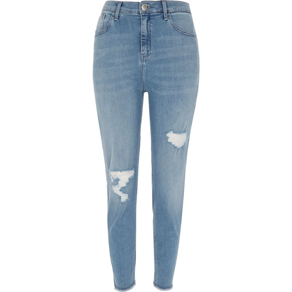 Womens Mid Blue Wash High Rise Lori Skinny Jeans - style: skinny leg; length: standard; pattern: plain; waist: high rise; predominant colour: denim; occasions: casual; fibres: cotton - stretch; jeans detail: whiskering, washed/faded, rips; texture group: denim; pattern type: fabric; season: s/s 2016; wardrobe: basic