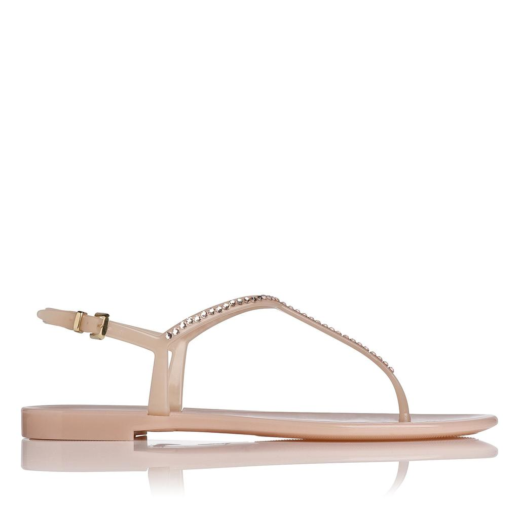 Lola Flat Jelly Sandals Pink Marshmallow - predominant colour: blush; occasions: casual, holiday; material: plastic/rubber; heel height: flat; ankle detail: ankle strap; heel: block; toe: toe thongs; style: strappy; finish: plain; pattern: plain; season: s/s 2016