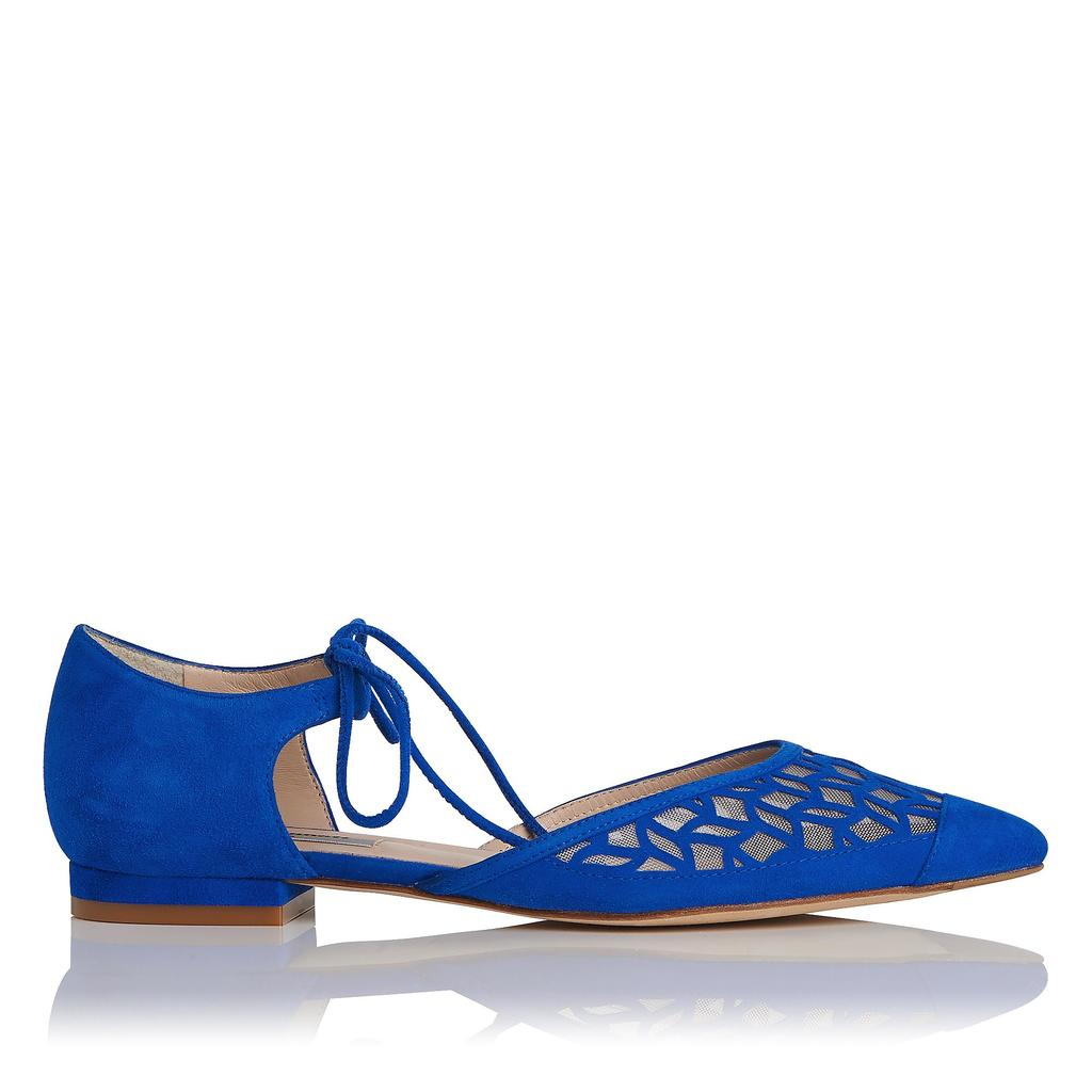 Mikaila Blue Suede Flat Blue True Blue - predominant colour: diva blue; occasions: casual, creative work; material: suede; heel height: flat; ankle detail: ankle tie; toe: pointed toe; style: ballerinas / pumps; finish: plain; pattern: plain; season: s/s 2016