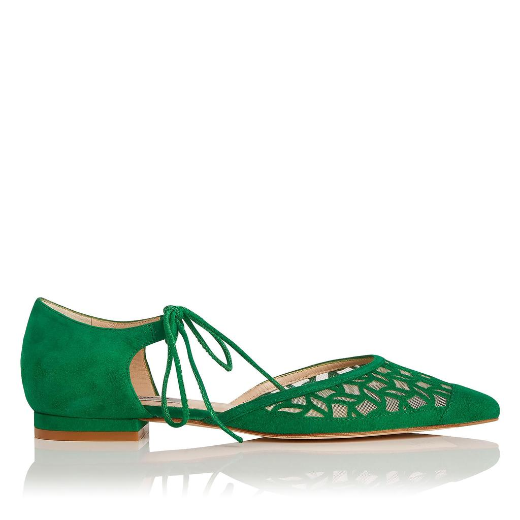 Mikaila Green Suede Flat - predominant colour: emerald green; occasions: casual, creative work; material: suede; heel height: flat; ankle detail: ankle tie; toe: pointed toe; style: ballerinas / pumps; finish: plain; pattern: plain; season: s/s 2016; wardrobe: highlight