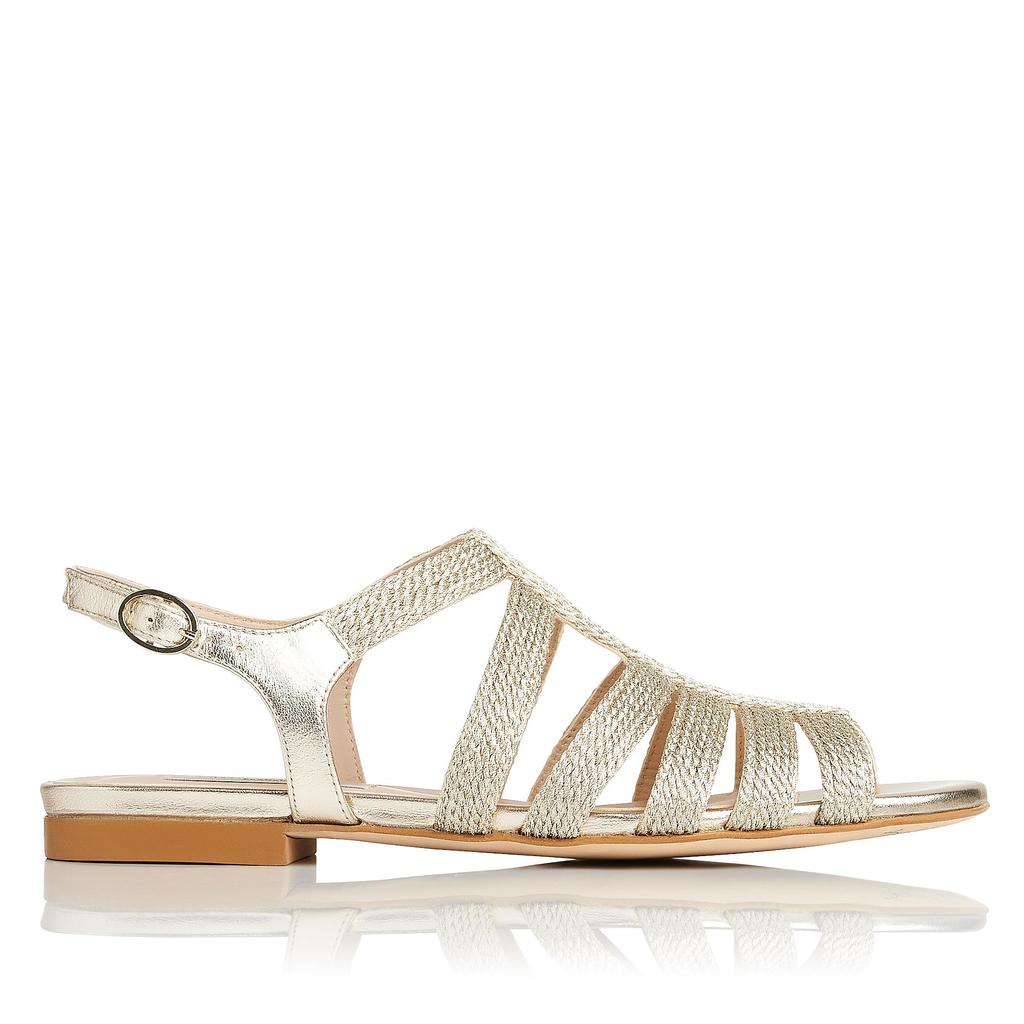 Raine Gold Leather Flat Sandals Metallic Soft Gold - predominant colour: gold; occasions: casual, holiday; material: leather; heel height: flat; heel: block; toe: open toe/peeptoe; style: gladiators; finish: metallic; pattern: plain; season: s/s 2016; wardrobe: basic