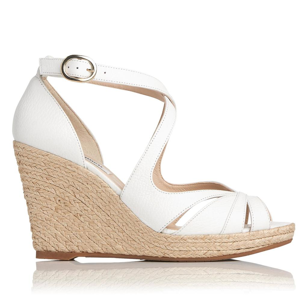 Maggie White Leather Espadrille Wedges White Off White - predominant colour: white; occasions: casual, creative work; material: leather; heel height: high; ankle detail: ankle strap; heel: wedge; toe: open toe/peeptoe; style: standard; finish: plain; pattern: plain; shoe detail: platform; season: s/s 2016; wardrobe: investment