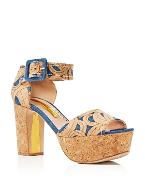 Logie Platform Cork Sandals - secondary colour: denim; predominant colour: camel; material: fabric; ankle detail: ankle strap; heel: block; toe: open toe/peeptoe; style: strappy; finish: plain; pattern: patterned/print; heel height: very high; occasions: creative work; shoe detail: platform; season: s/s 2016; wardrobe: highlight