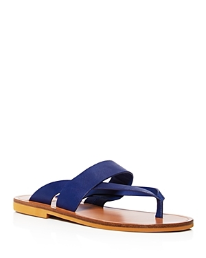 Tess Flat Sandals - predominant colour: royal blue; material: leather; heel height: flat; heel: standard; toe: toe thongs; style: flip flops; occasions: holiday; finish: plain; pattern: plain; season: s/s 2016; wardrobe: highlight