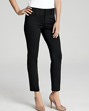 Black Straight Leg Ankle Pants - pattern: plain; waist: mid/regular rise; predominant colour: black; occasions: work; length: ankle length; fibres: polyester/polyamide - mix; fit: slim leg; pattern type: fabric; texture group: woven light midweight; style: standard; season: s/s 2016; wardrobe: basic
