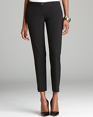 Skinny Pants - pattern: plain; waist: low rise; predominant colour: black; occasions: work, creative work; length: ankle length; fibres: cotton - 100%; texture group: cotton feel fabrics; fit: slim leg; pattern type: fabric; style: standard; season: s/s 2016; wardrobe: basic