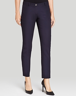Skinny Pants - pattern: plain; waist: mid/regular rise; predominant colour: navy; length: ankle length; fibres: cotton - 100%; texture group: denim; fit: slim leg; pattern type: fabric; style: standard; occasions: creative work; season: s/s 2016; wardrobe: basic