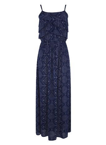 Womens Tiered Printed Maxi Dress, Navy, Navy - neckline: round neck; sleeve style: spaghetti straps; style: maxi dress; predominant colour: navy; occasions: evening; length: floor length; fit: body skimming; fibres: viscose/rayon - 100%; sleeve length: sleeveless; pattern type: fabric; pattern: patterned/print; texture group: jersey - stretchy/drapey; season: s/s 2016; wardrobe: event
