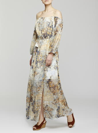 Womens Printed Cold Shoulder Maxi Dress, Multi, Ivory Print - neckline: off the shoulder; fit: fitted at waist; style: maxi dress; length: ankle length; waist detail: fitted waist; predominant colour: ivory/cream; secondary colour: khaki; fibres: polyester/polyamide - 100%; occasions: occasion; sleeve length: long sleeve; sleeve style: standard; texture group: sheer fabrics/chiffon/organza etc.; pattern type: fabric; pattern size: standard; pattern: patterned/print; multicoloured: multicoloured; season: s/s 2016; wardrobe: event