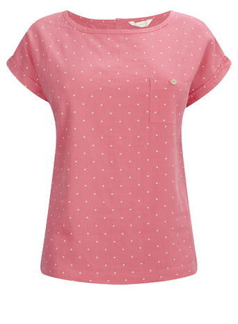 Womens Pink Print Linen Blend Tee, Pink - pattern: polka dot; secondary colour: ivory/cream; predominant colour: pink; occasions: casual; length: standard; style: top; fibres: linen - mix; fit: body skimming; neckline: crew; sleeve length: short sleeve; sleeve style: standard; pattern type: fabric; texture group: woven light midweight; season: s/s 2016; wardrobe: highlight