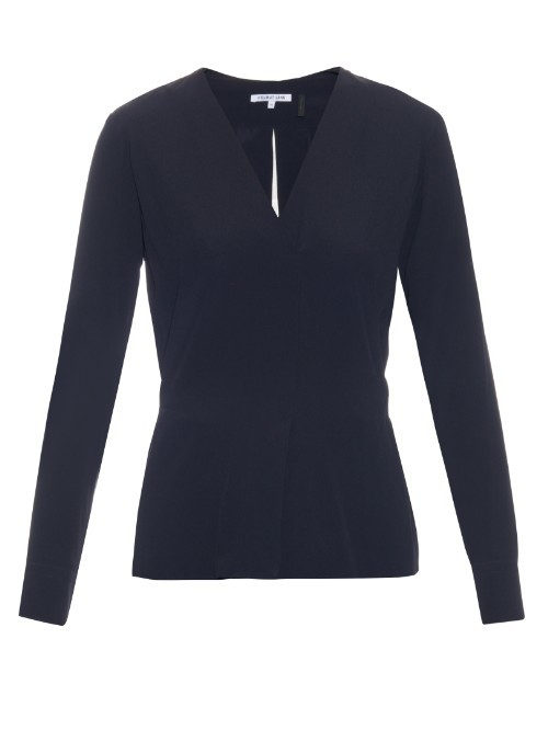 V Neck Crepe De Chine Blouse - neckline: v-neck; pattern: plain; predominant colour: navy; occasions: casual; length: standard; style: top; fibres: silk - mix; fit: body skimming; sleeve length: long sleeve; sleeve style: standard; texture group: crepes; pattern type: fabric; season: s/s 2016; wardrobe: basic