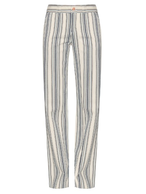 Striped Cotton Twill Trousers - length: standard; pattern: striped; waist: mid/regular rise; secondary colour: ivory/cream; predominant colour: navy; occasions: casual; fibres: cotton - 100%; waist detail: feature waist detail; texture group: cotton feel fabrics; fit: straight leg; pattern type: fabric; style: standard; season: s/s 2016; wardrobe: highlight