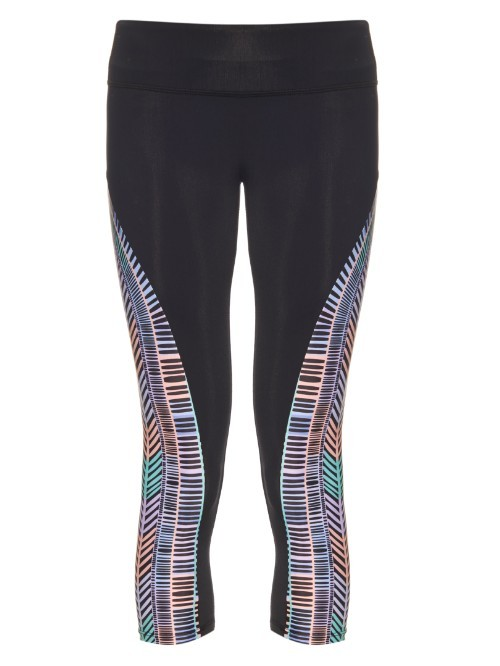Voyager Print Panel Performance Leggings - style: leggings; waist detail: elasticated waist; waist: mid/regular rise; secondary colour: lilac; predominant colour: black; length: calf length; fibres: polyester/polyamide - stretch; texture group: jersey - clingy; fit: skinny/tight leg; pattern type: fabric; pattern: patterned/print; occasions: activity; multicoloured: multicoloured; season: s/s 2016