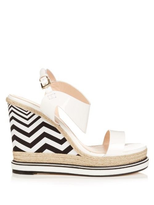 Leda Patent Leather And Espadrille Wedge Sandals - secondary colour: white; predominant colour: black; occasions: casual, evening; material: leather; ankle detail: ankle strap; heel: wedge; toe: open toe/peeptoe; style: strappy; finish: plain; pattern: striped; heel height: very high; shoe detail: platform; season: s/s 2016; wardrobe: highlight