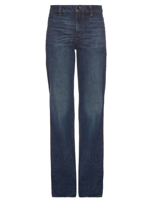 High Rise Flared Jeans - style: flares; length: standard; pattern: plain; waist: high rise; predominant colour: navy; occasions: casual; fibres: cotton - stretch; texture group: denim; pattern type: fabric; season: s/s 2016; wardrobe: basic