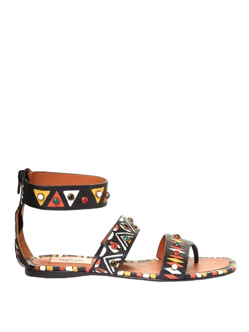 Hand Painted Leather Flat Sandals - predominant colour: black; occasions: casual, holiday; material: leather; heel height: flat; embellishment: beading; ankle detail: ankle strap; heel: block; toe: open toe/peeptoe; style: gladiators; finish: plain; pattern: patterned/print; multicoloured: multicoloured; season: s/s 2016