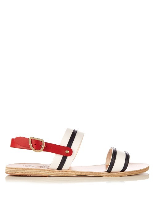 Dinami Leather Sandals - predominant colour: white; secondary colour: black; occasions: casual, holiday; material: leather; heel height: flat; heel: standard; toe: open toe/peeptoe; style: strappy; finish: plain; pattern: colourblock; season: s/s 2016; wardrobe: highlight