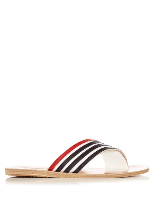 Thais Cross Strap Sandals - secondary colour: true red; predominant colour: navy; material: leather; heel height: flat; heel: block; toe: toe thongs; style: flip flops; occasions: holiday; finish: plain; pattern: striped; season: s/s 2016; wardrobe: highlight