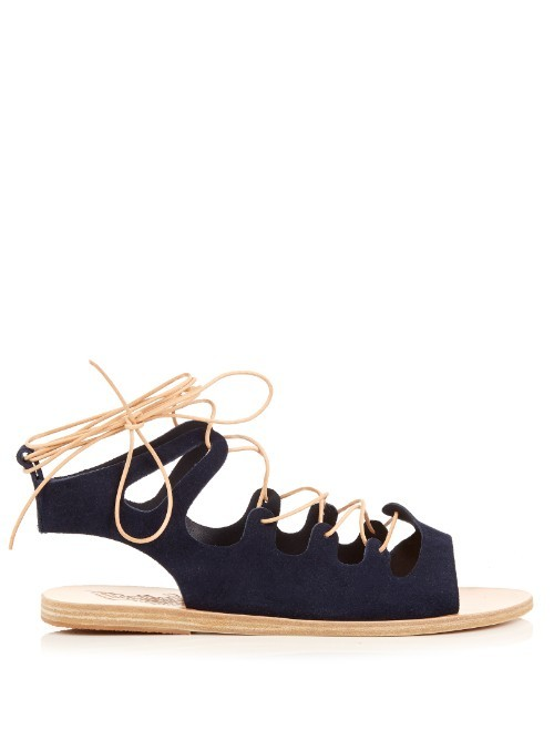 Antigone Suede Lace Up Sandals - predominant colour: navy; secondary colour: black; occasions: casual, holiday; material: suede; heel height: flat; ankle detail: ankle strap; heel: standard; toe: open toe/peeptoe; style: strappy; finish: plain; pattern: plain; season: s/s 2016; wardrobe: basic