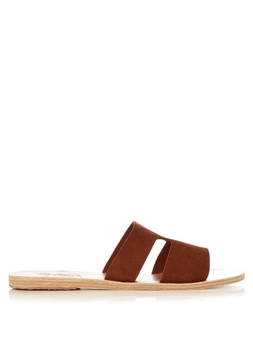 Apeteros Suede Sandals - predominant colour: chocolate brown; occasions: casual; material: suede; heel height: flat; heel: standard; toe: open toe/peeptoe; style: slides; finish: plain; pattern: plain; season: s/s 2016; wardrobe: highlight