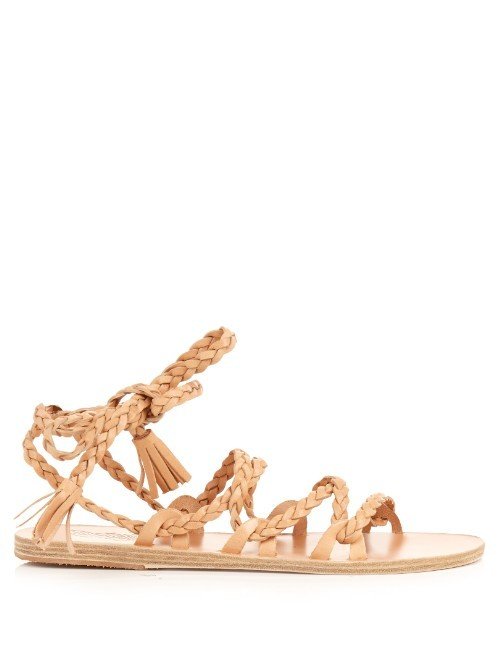Kariatida Leather Sandals - predominant colour: camel; occasions: casual, holiday; material: leather; heel height: flat; heel: block; toe: open toe/peeptoe; style: gladiators; finish: plain; pattern: plain; season: s/s 2016