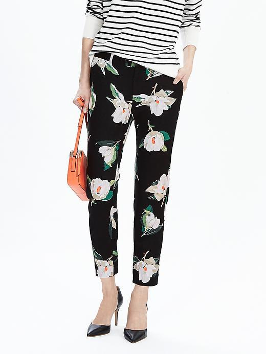 Ryan Fit Black Print Slim Straight Pant Black Print - waist: mid/regular rise; secondary colour: blush; predominant colour: black; occasions: casual; length: ankle length; fibres: cotton - stretch; fit: slim leg; pattern type: fabric; pattern: florals; texture group: other - light to midweight; style: standard; multicoloured: multicoloured; season: s/s 2016