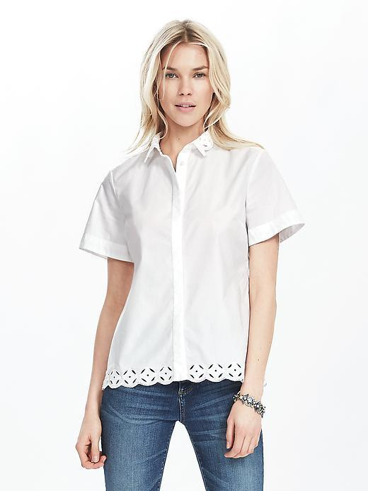 Eyelet Trim Shirt White - neckline: shirt collar/peter pan/zip with opening; pattern: plain; style: shirt; predominant colour: white; occasions: casual; length: standard; fibres: cotton - 100%; fit: body skimming; sleeve length: short sleeve; sleeve style: standard; texture group: cotton feel fabrics; pattern type: fabric; embellishment: embroidered; season: s/s 2016