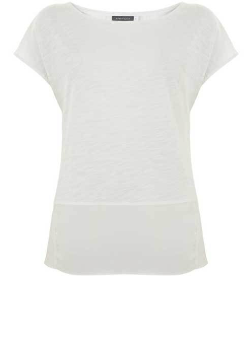Ivory Racer Back Tee - pattern: plain; style: t-shirt; predominant colour: white; occasions: casual; length: standard; fibres: cotton - mix; fit: body skimming; neckline: crew; back detail: longer hem at back than at front; sleeve length: short sleeve; sleeve style: standard; pattern type: fabric; texture group: jersey - stretchy/drapey; season: s/s 2016; wardrobe: basic