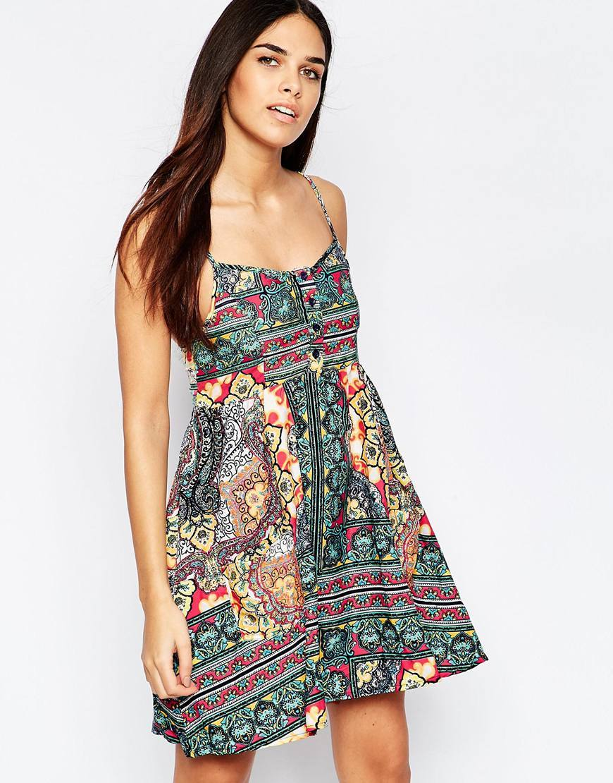 Tile Print Button Up Sundress Multi - sleeve style: spaghetti straps; style: sundress; secondary colour: true red; predominant colour: dark green; occasions: casual, evening; length: just above the knee; fit: body skimming; neckline: scoop; fibres: polyester/polyamide - 100%; sleeve length: sleeveless; texture group: cotton feel fabrics; pattern type: fabric; pattern: patterned/print; multicoloured: multicoloured; season: s/s 2016; wardrobe: highlight