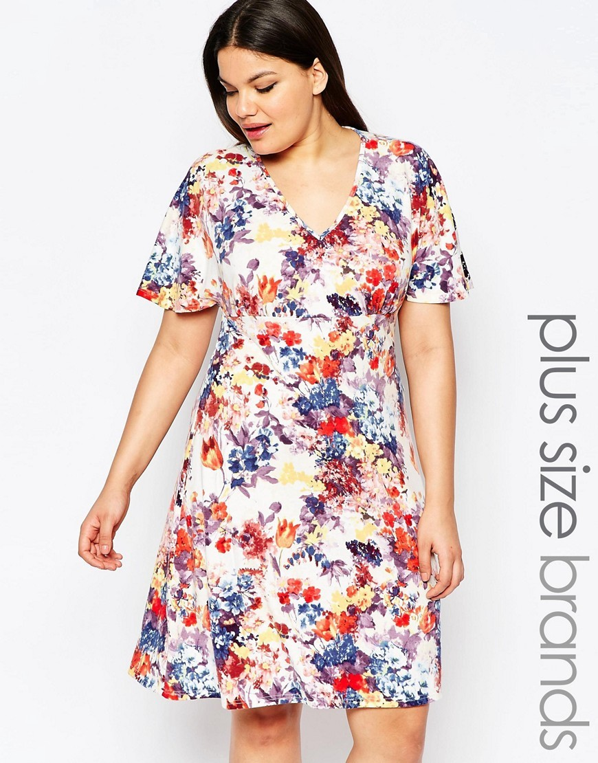 Plus Skater Dress With Kimono Sleeves In Floral Print Floral Print - neckline: v-neck; predominant colour: white; secondary colour: royal blue; occasions: evening; length: on the knee; fit: fitted at waist & bust; style: fit & flare; fibres: viscose/rayon - stretch; sleeve length: short sleeve; sleeve style: standard; pattern type: knitted - big stitch; pattern: florals; texture group: jersey - stretchy/drapey; multicoloured: multicoloured; season: s/s 2016; wardrobe: event
