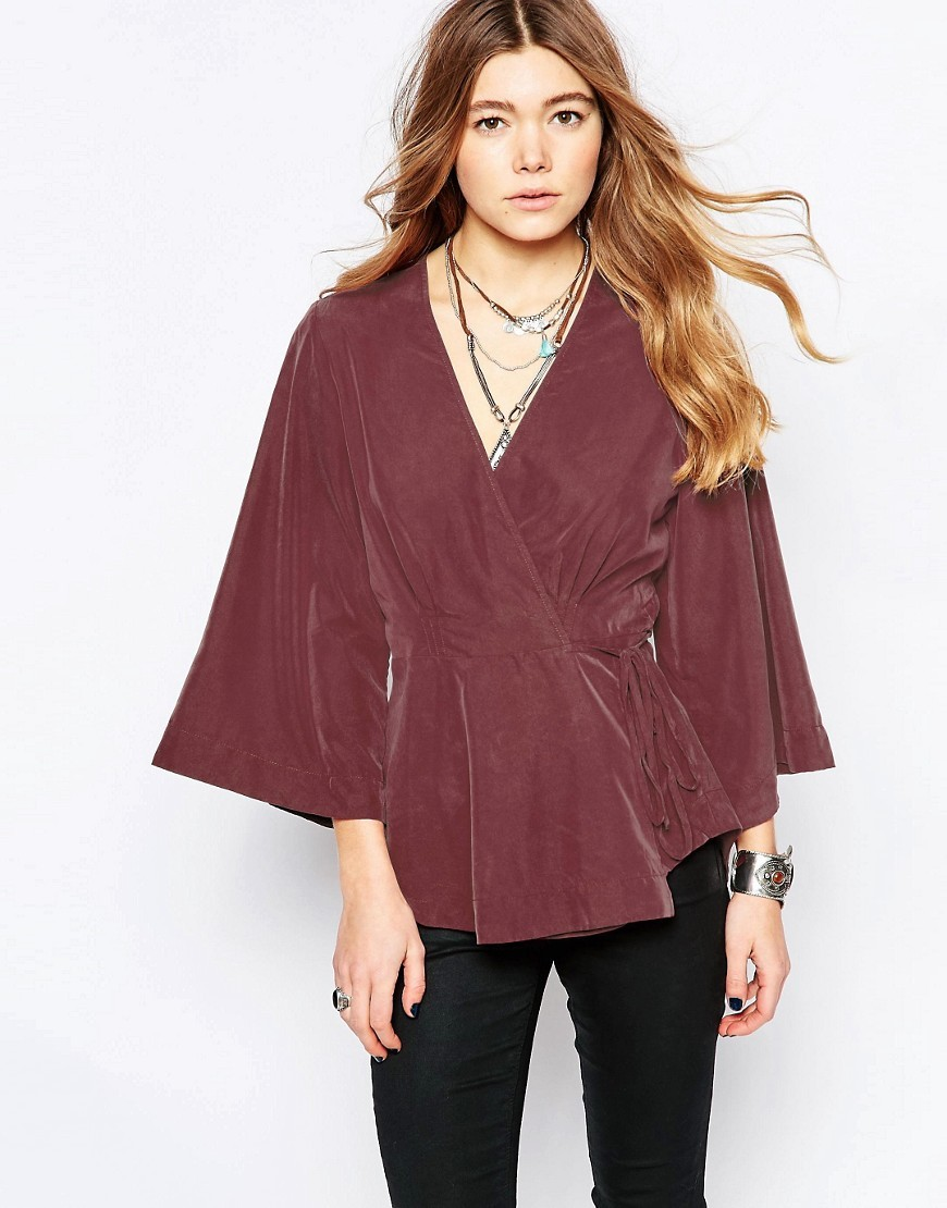 Grand Piano Blouse Mulberry - neckline: v-neck; sleeve style: dolman/batwing; pattern: plain; waist detail: fitted waist; style: wrap/faux wrap; predominant colour: aubergine; length: standard; fibres: polyester/polyamide - 100%; fit: tailored/fitted; sleeve length: 3/4 length; texture group: crepes; pattern type: fabric; occasions: creative work; season: s/s 2016; wardrobe: highlight