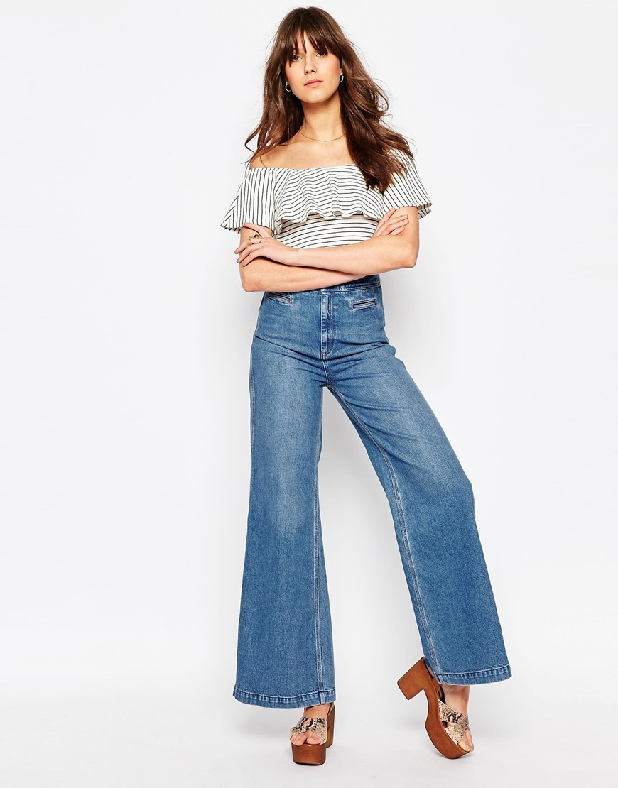 Wide Leg Jean With Cinch Back Midwash Blue - style: flares; length: standard; pattern: plain; waist: high rise; pocket detail: traditional 5 pocket; predominant colour: denim; occasions: casual; fibres: cotton - 100%; jeans detail: shading down centre of thigh; texture group: denim; pattern type: fabric; season: s/s 2016; wardrobe: basic