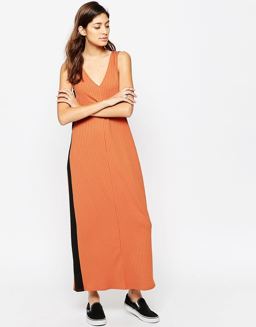 Rib Panel Maxi Dress Brown - neckline: low v-neck; sleeve style: standard vest straps/shoulder straps; style: maxi dress; length: ankle length; predominant colour: terracotta; secondary colour: black; occasions: casual; fit: straight cut; fibres: polyester/polyamide - 100%; sleeve length: sleeveless; texture group: crepes; pattern type: fabric; pattern: colourblock; season: s/s 2016
