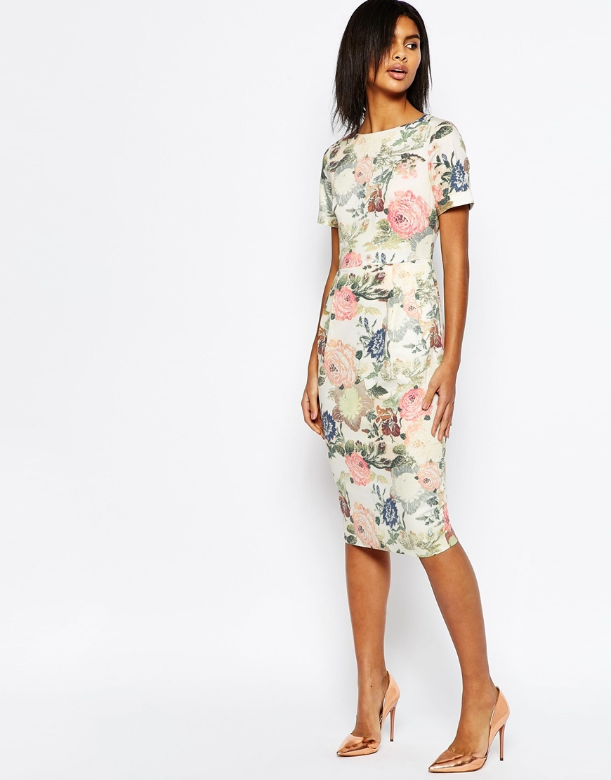Occasion Floral Wiggle Dress Multi - style: shift; length: below the knee; fit: tailored/fitted; predominant colour: ivory/cream; secondary colour: blush; fibres: cotton - stretch; occasions: occasion; neckline: crew; sleeve length: short sleeve; sleeve style: standard; pattern type: fabric; pattern size: standard; pattern: florals; texture group: other - light to midweight; multicoloured: multicoloured; season: s/s 2016; wardrobe: event