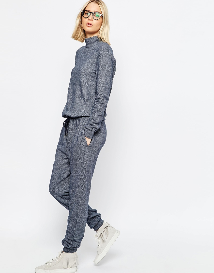 Funnel Neck Jumpsuit Blue - length: standard; fit: fitted at waist; pattern: plain; neckline: high neck; predominant colour: denim; occasions: casual; fibres: cotton - mix; sleeve length: long sleeve; sleeve style: standard; texture group: knits/crochet; style: jumpsuit; pattern type: fabric; season: s/s 2016; wardrobe: highlight