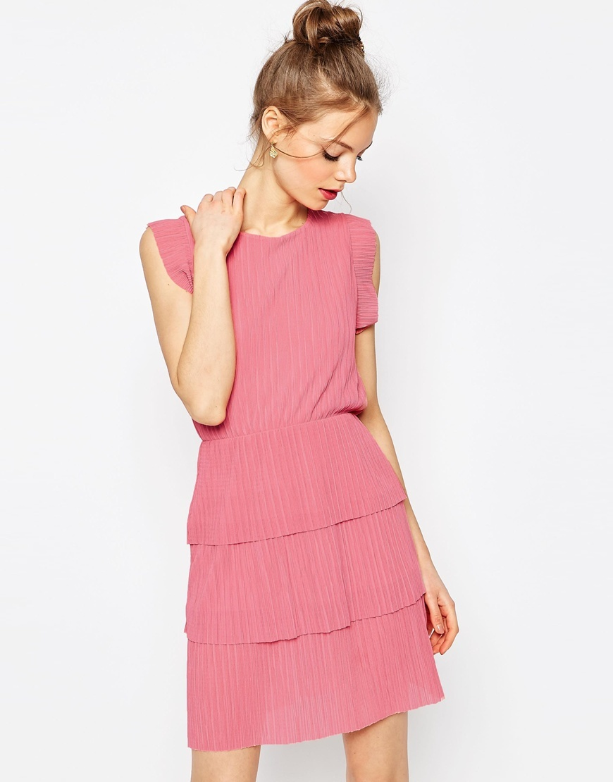 Mini Pleated Dress Pink - style: shift; neckline: round neck; pattern: plain; sleeve style: sleeveless; predominant colour: pink; occasions: casual, creative work; length: just above the knee; fit: body skimming; fibres: polyester/polyamide - 100%; hip detail: adds bulk at the hips; sleeve length: sleeveless; pattern type: fabric; texture group: other - light to midweight; season: s/s 2016; wardrobe: highlight