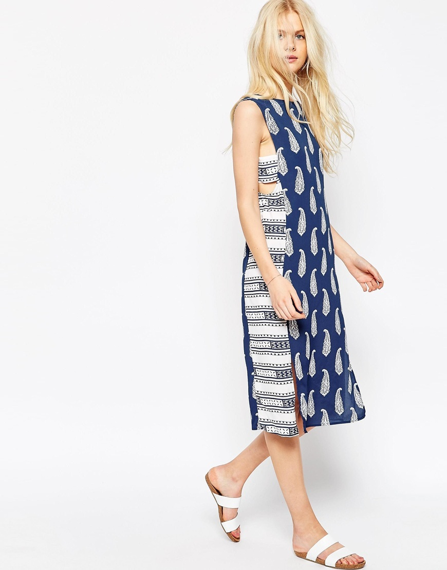 Midi Dress In Mixed Print With Tab Side Detail Multi - style: shift; length: below the knee; sleeve style: sleeveless; predominant colour: royal blue; secondary colour: light grey; occasions: casual; fit: body skimming; fibres: viscose/rayon - 100%; neckline: crew; sleeve length: sleeveless; pattern type: fabric; pattern: patterned/print; texture group: other - light to midweight; season: s/s 2016; wardrobe: highlight