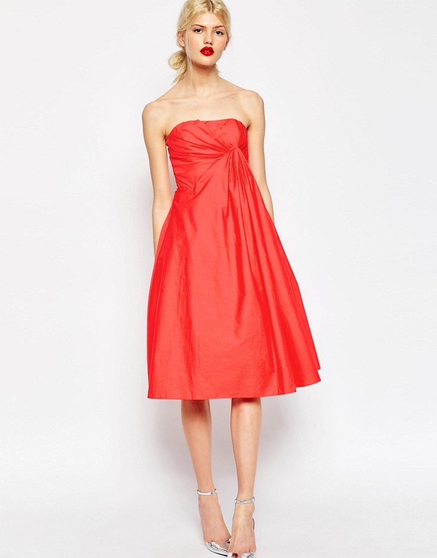 Premium Extreme Fold Midi Prom Dress Hot Red - length: below the knee; neckline: strapless (straight/sweetheart); pattern: plain; style: prom dress; sleeve style: strapless; waist detail: flattering waist detail; predominant colour: coral; fit: body skimming; fibres: polyester/polyamide - 100%; occasions: occasion; sleeve length: sleeveless; texture group: structured shiny - satin/tafetta/silk etc.; pattern type: fabric; season: s/s 2016; wardrobe: event