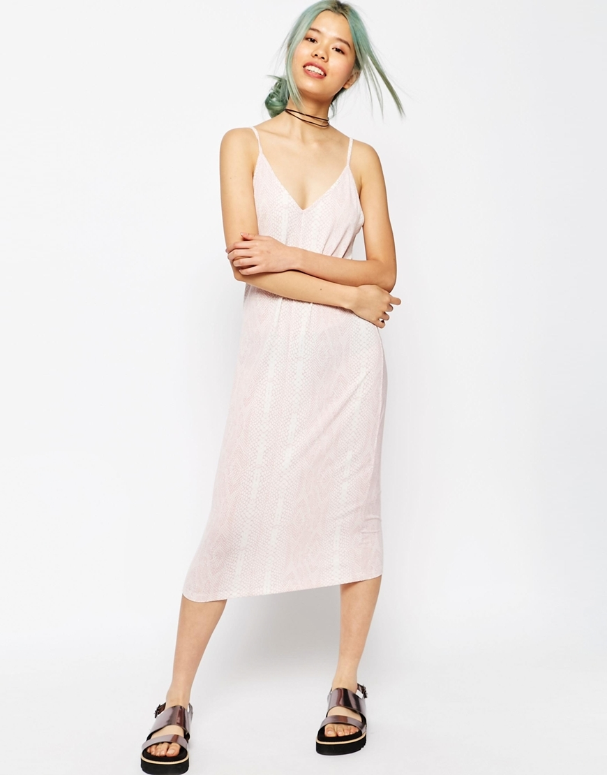 Midi Cami Slip Dress In Snake Print Pink - length: below the knee; neckline: low v-neck; sleeve style: spaghetti straps; pattern: plain; predominant colour: blush; occasions: casual; fit: body skimming; style: slip dress; fibres: viscose/rayon - stretch; sleeve length: sleeveless; pattern type: fabric; pattern size: light/subtle; texture group: jersey - stretchy/drapey; season: s/s 2016; wardrobe: basic