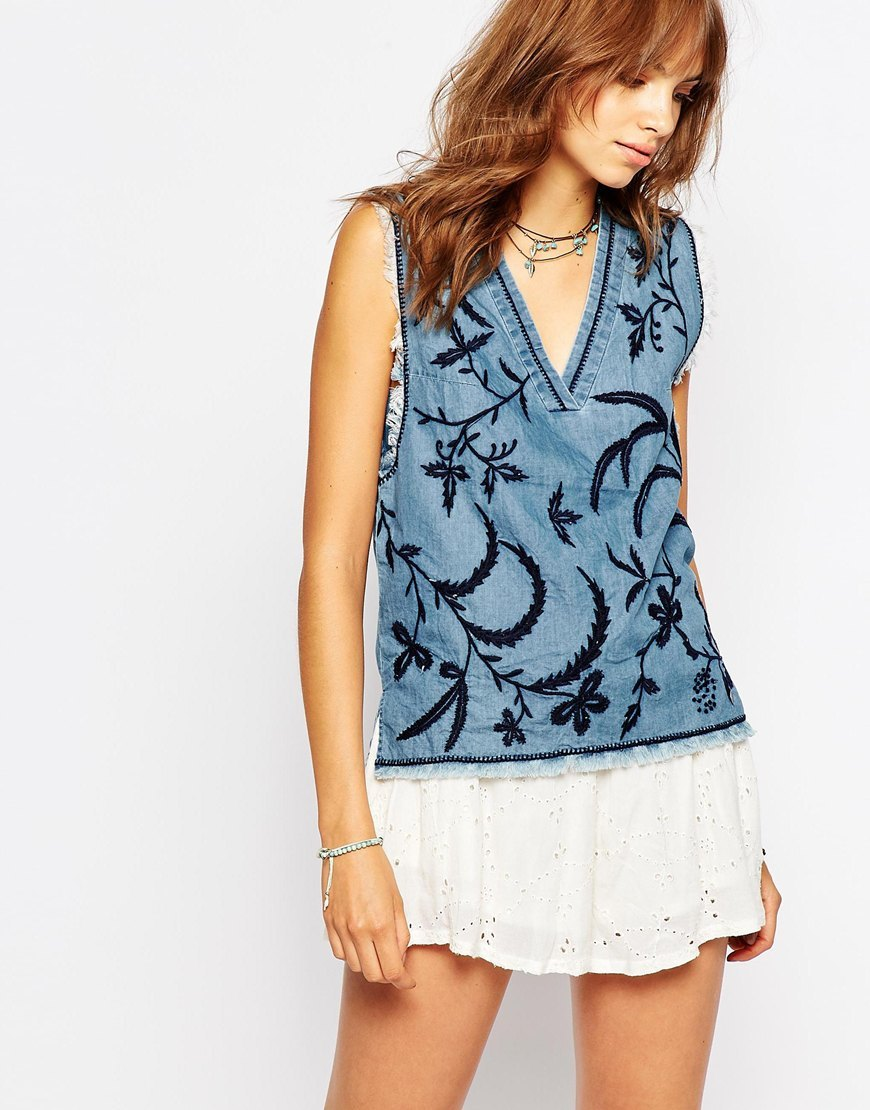 V Neck Denim Top With Embrodery Blue - neckline: v-neck; sleeve style: sleeveless; predominant colour: denim; occasions: casual; length: standard; style: top; fibres: cotton - 100%; fit: body skimming; sleeve length: sleeveless; texture group: denim; pattern type: fabric; pattern: patterned/print; embellishment: embroidered; multicoloured: multicoloured; season: s/s 2016; wardrobe: highlight