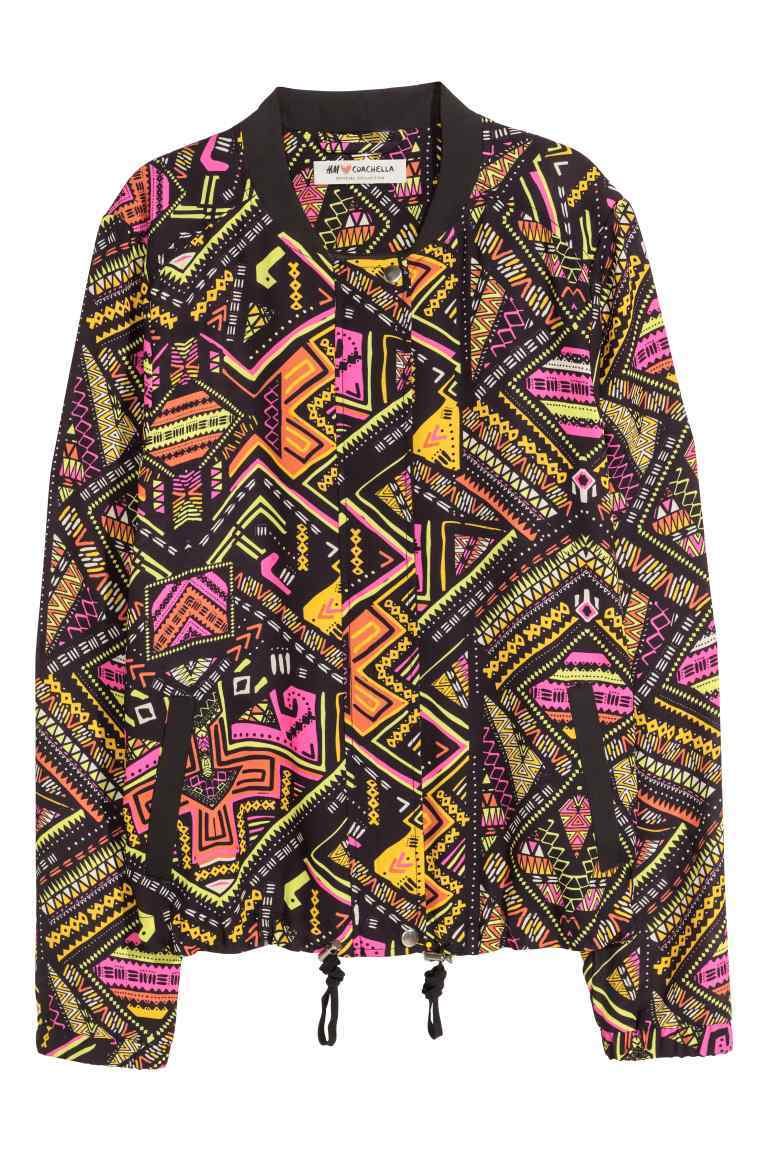 Patterned Bomber Jacket - collar: round collar/collarless; style: bomber; secondary colour: bright orange; predominant colour: black; occasions: casual, creative work; length: standard; fit: straight cut (boxy); fibres: polyester/polyamide - mix; sleeve length: long sleeve; sleeve style: standard; texture group: crepes; collar break: high; pattern type: fabric; pattern size: light/subtle; pattern: patterned/print; multicoloured: multicoloured; season: s/s 2016; wardrobe: highlight