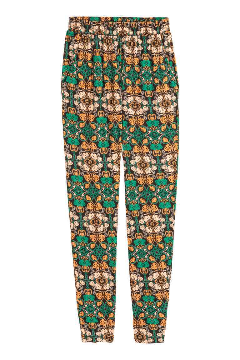 Jersey Trousers Loose Fit - length: standard; waist detail: elasticated waist; style: peg leg; waist: high rise; secondary colour: yellow; predominant colour: emerald green; occasions: casual, holiday; fibres: polyester/polyamide - stretch; fit: tapered; pattern type: fabric; pattern: patterned/print; texture group: jersey - stretchy/drapey; pattern size: standard (bottom); multicoloured: multicoloured; season: s/s 2016; wardrobe: highlight