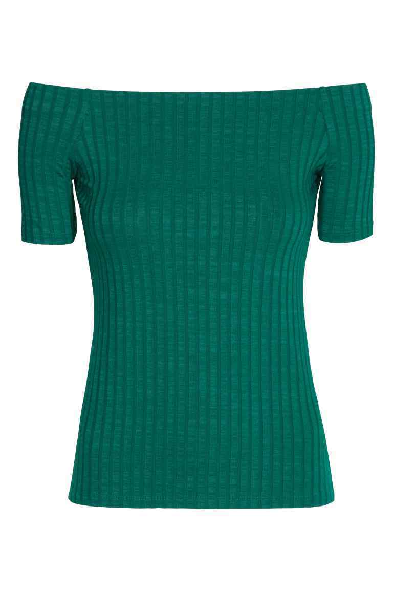 Off The Shoulder Top - neckline: off the shoulder; pattern: plain; style: t-shirt; predominant colour: teal; occasions: casual; length: standard; fibres: cotton - stretch; fit: body skimming; sleeve length: short sleeve; sleeve style: standard; texture group: jersey - clingy; pattern type: fabric; season: s/s 2016