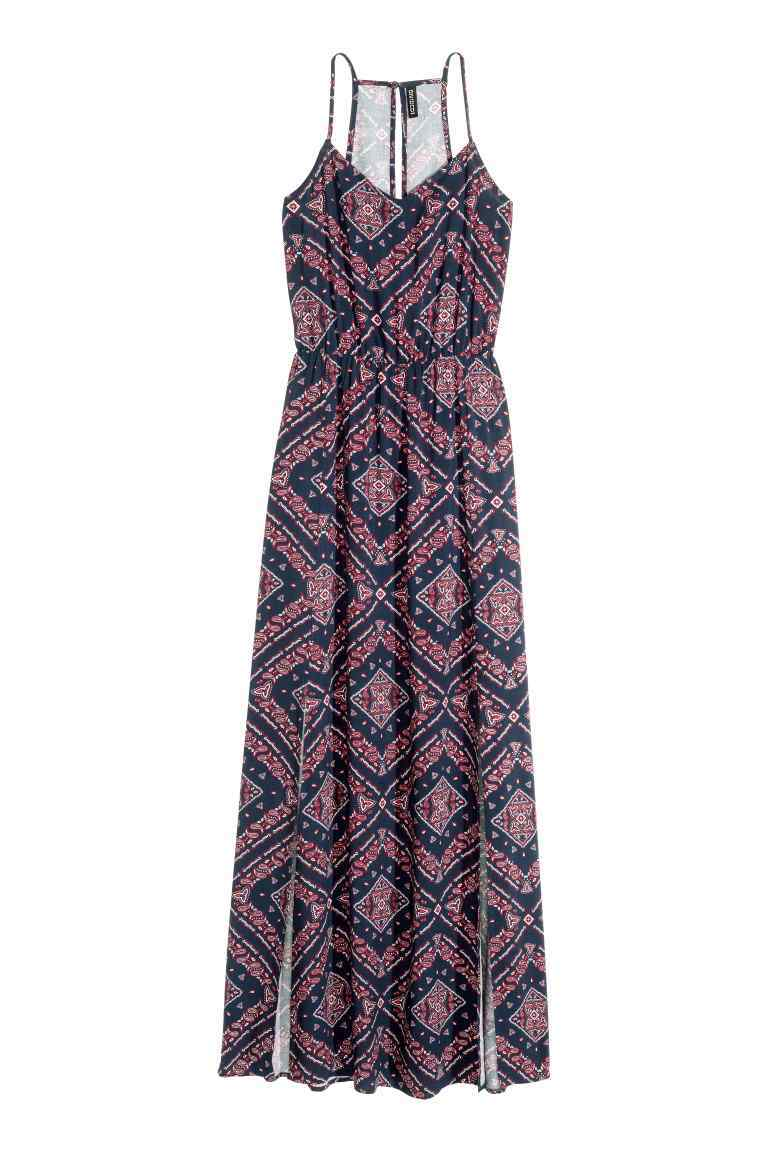Maxi Dress - neckline: low v-neck; sleeve style: spaghetti straps; style: maxi dress; length: ankle length; predominant colour: pink; secondary colour: black; occasions: evening; fit: body skimming; fibres: viscose/rayon - 100%; hip detail: slits at hip; sleeve length: sleeveless; pattern type: fabric; pattern: patterned/print; texture group: jersey - stretchy/drapey; multicoloured: multicoloured; season: s/s 2016; wardrobe: event