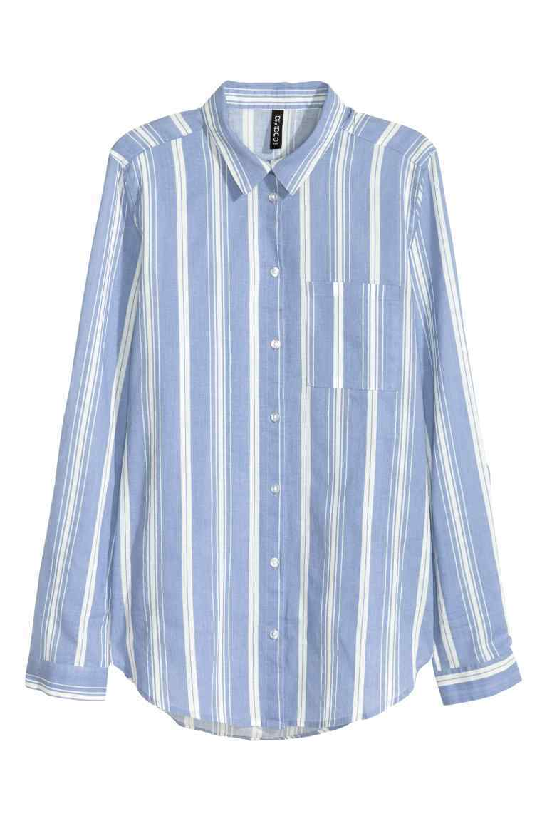 Cotton Shirt - neckline: shirt collar/peter pan/zip with opening; pattern: vertical stripes; style: shirt; bust detail: pocket detail at bust; secondary colour: white; predominant colour: pale blue; occasions: casual; length: standard; fibres: cotton - 100%; fit: body skimming; sleeve length: long sleeve; sleeve style: standard; texture group: cotton feel fabrics; pattern type: fabric; multicoloured: multicoloured; season: s/s 2016