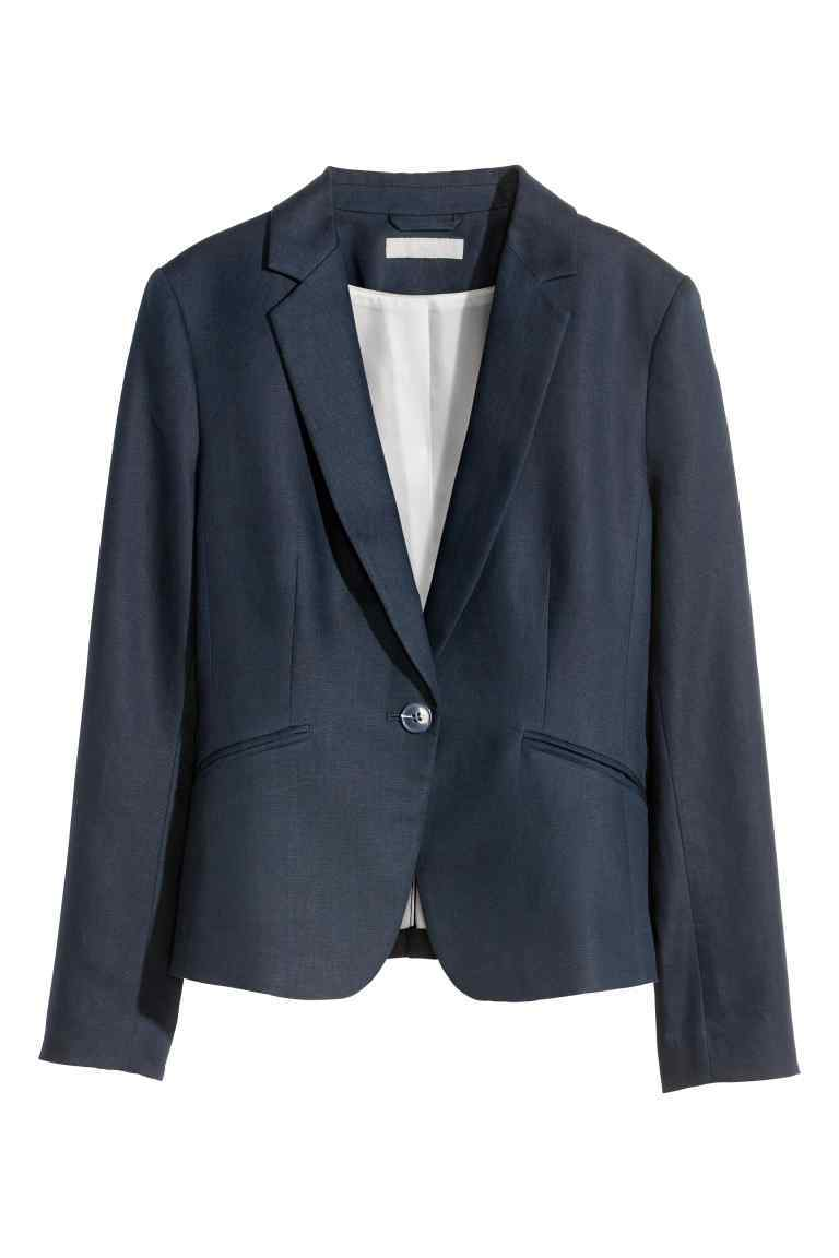 Jacket In A Linen Blend - pattern: plain; style: single breasted blazer; collar: standard lapel/rever collar; predominant colour: navy; occasions: work; length: standard; fit: tailored/fitted; fibres: linen - mix; sleeve length: long sleeve; sleeve style: standard; texture group: linen; collar break: medium; pattern type: fabric; season: s/s 2016