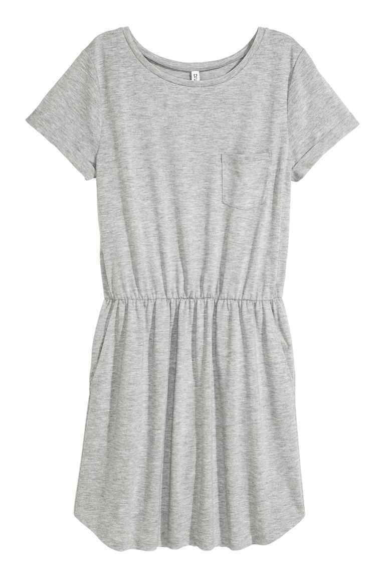 Jersey Dress - style: t-shirt; length: mid thigh; neckline: round neck; pattern: plain; waist detail: elasticated waist; predominant colour: light grey; occasions: casual; fit: body skimming; fibres: polyester/polyamide - mix; sleeve length: short sleeve; sleeve style: standard; pattern type: fabric; texture group: jersey - stretchy/drapey; season: s/s 2016; wardrobe: basic