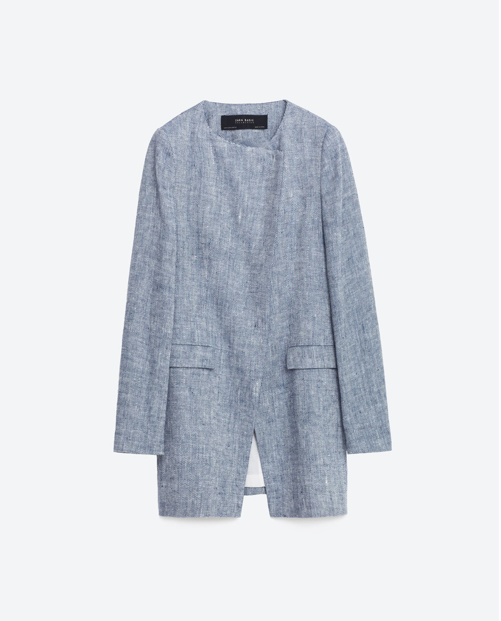 Linen Blazer - style: single breasted blazer; collar: round collar/collarless; length: below the bottom; secondary colour: white; predominant colour: pale blue; occasions: casual, creative work; fit: straight cut (boxy); fibres: linen - 100%; hip detail: added detail/embellishment at hip; sleeve length: long sleeve; sleeve style: standard; collar break: high; pattern type: fabric; pattern size: light/subtle; texture group: woven light midweight; pattern: marl; season: s/s 2016